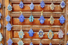 Selection of traditional Middle Eastern amulets, hamsa